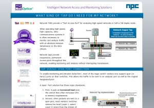 Website - Landing Page of network-taps.eu